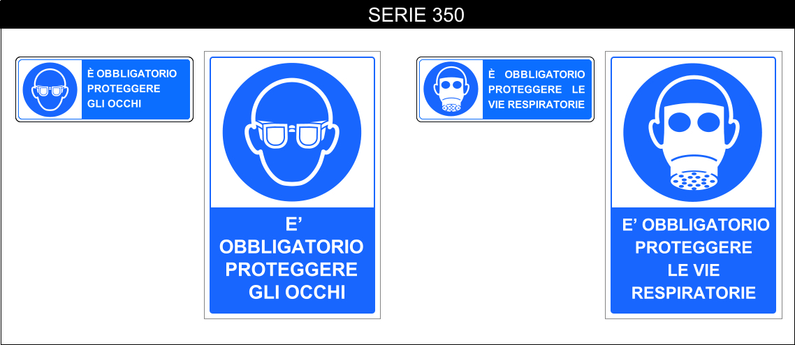 cartelli segnalatori di obbligo serie 350