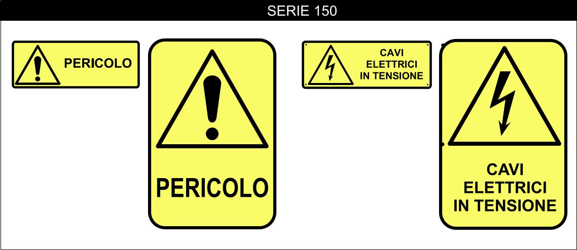 CARTELLI SICUREZZA SERIE PERICOLO 150