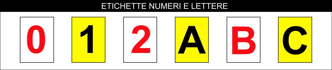 etichette numeri e lettere